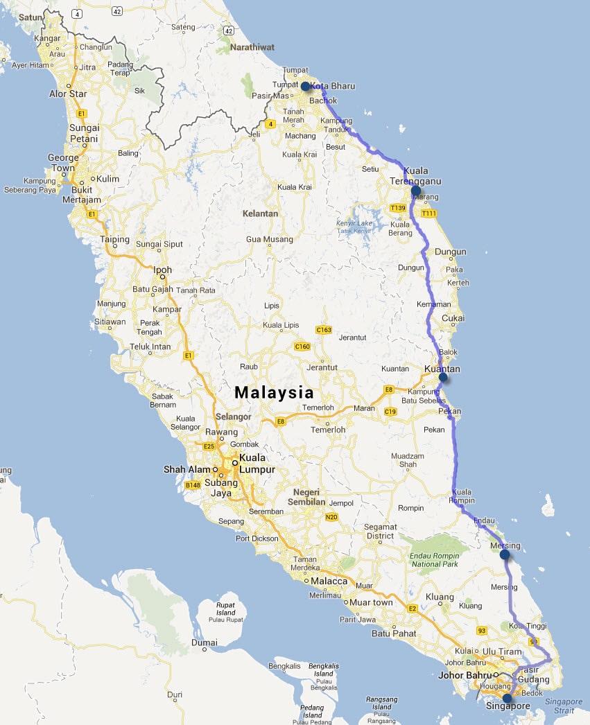 馬來西亞東岸旅遊路線- Kota bharu 到 Kuala Terengganu、Kuantan、Mersing