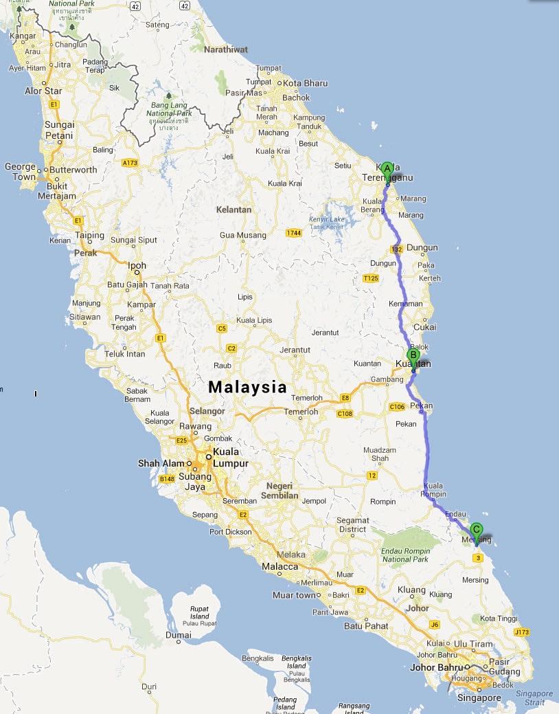 Kuala Terengganu 往 Kuantan 及 Mersing 乘車路線圖