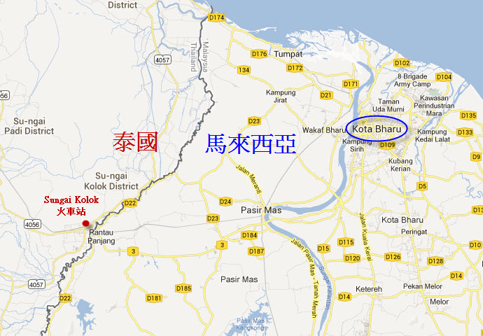 泰國邊境 Sungai Kolok、馬來西亞 東岸 Kota Bharu 地圖