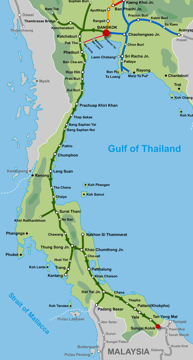 泰國曼谷往南部邊界市鎮 Sungai Kolok火車路線圖