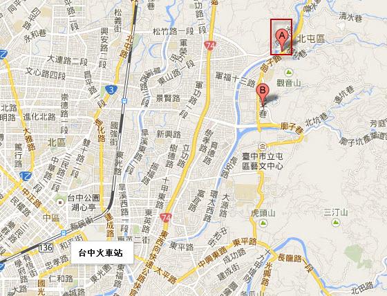 台中市區東北面外圍景點景點分佈地圖