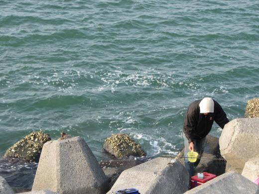 台南安平漁港防波堤垂釣