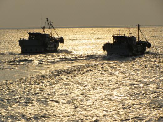 台南安平漁港防波堤 日落