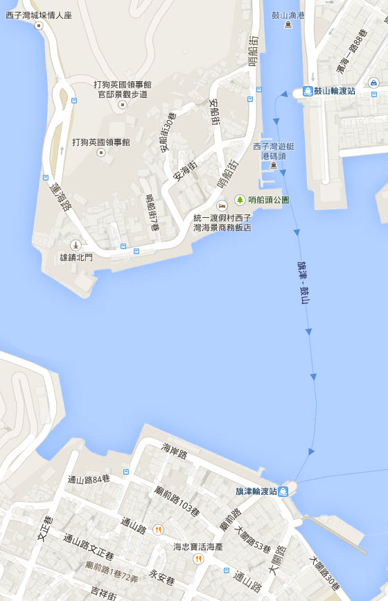 kaohsiung-sizihwan-gushanlundu-station-ferry-to-qijin-route-map