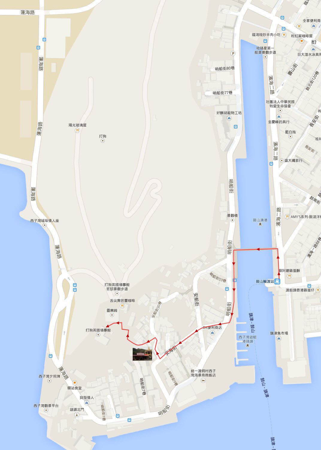 kaohsiung-sizihwan-ferry-station-walk-to-takao-former-british-consulate-map