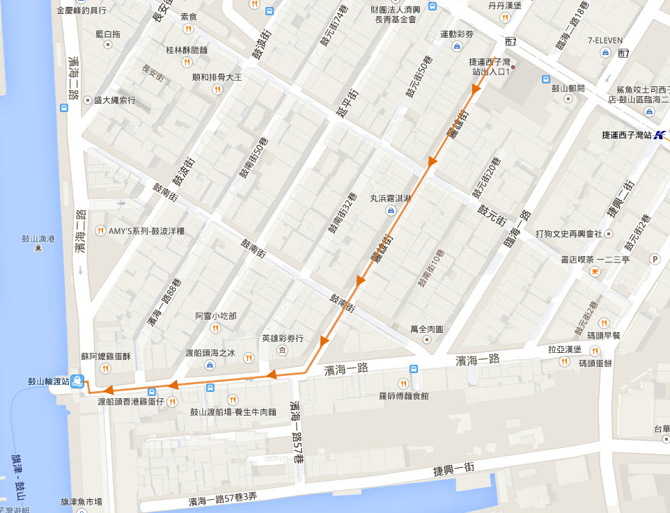 kaohsiung-sizihwan-station-walk-to-gushanlundu-station-walk-route