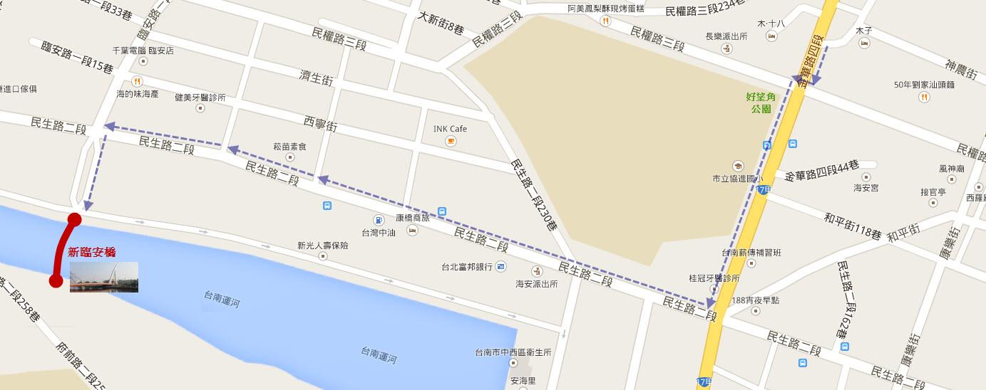 神農街步行往台南運河路線圖