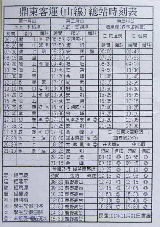 台東 鼎東客運山線總站 往池上油菜花海巴士時刻表
