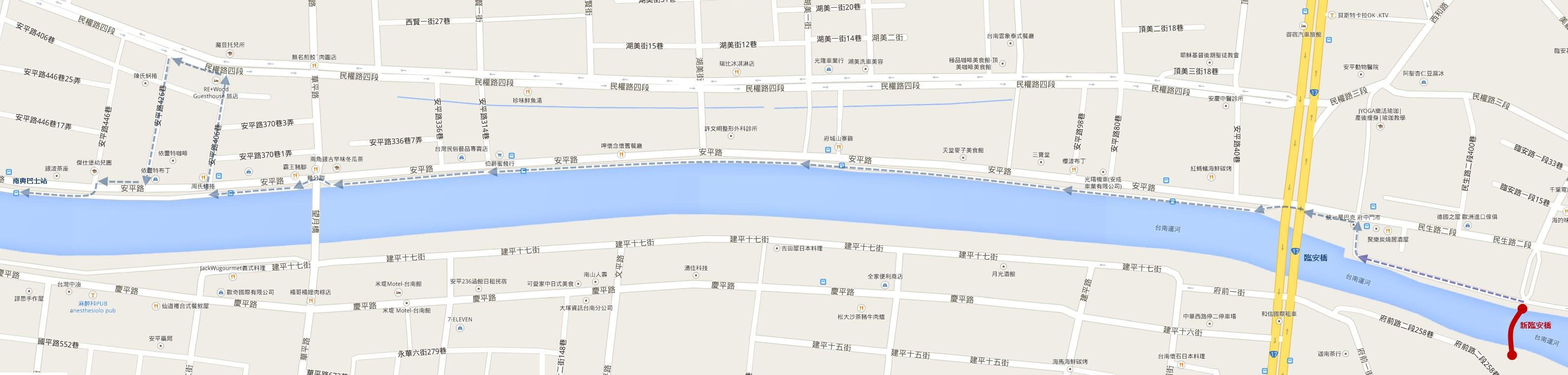 台南運河散步路線圖