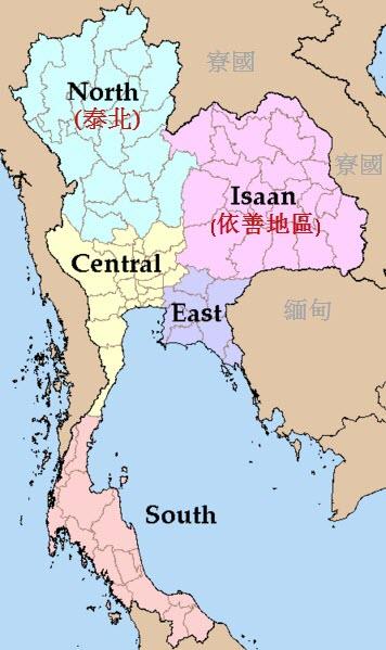 泰國地圖: 依善地區