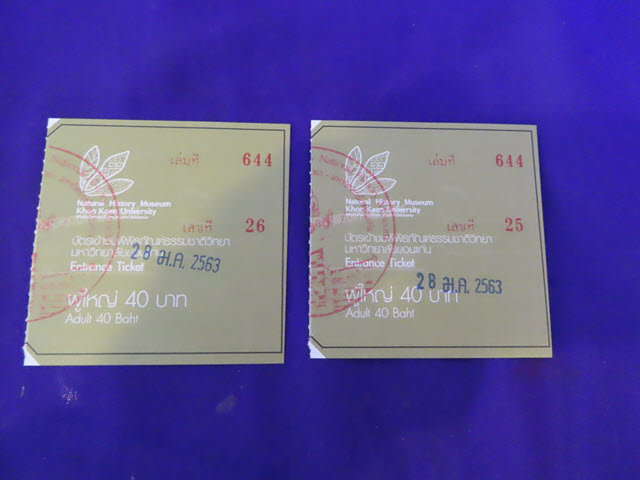 孔敬自然歷史博物館 入場票